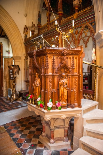 The ornate Victorian pulpit