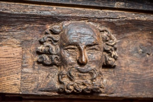 14th century head on the chapel screen