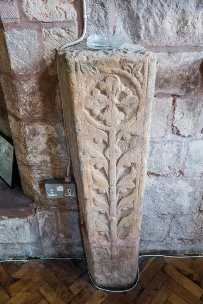 Morland, St Lawrence Church photo, Medieval grave slab carved with a floriated cross