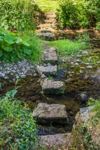Stepping stones across Morland Beck