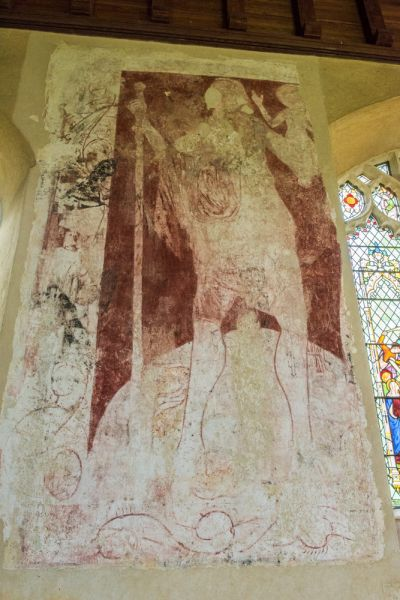 Moulton, St Mary's Church photo, 14th century wall painting of St Christopher