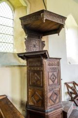 The beautifully carved Jacobean pulpit
