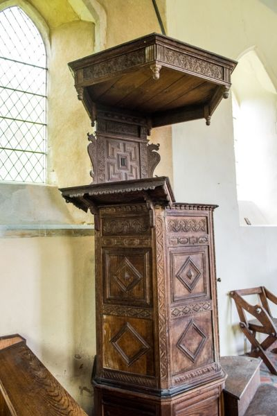 Moulton, St Mary's Church photo, The beautifully carved Jacobean pulpit