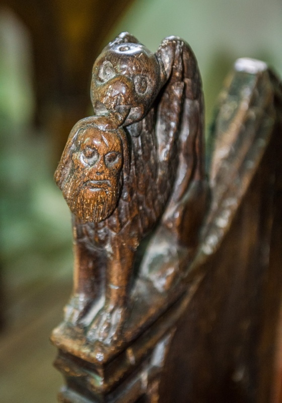 15th century carved bench end