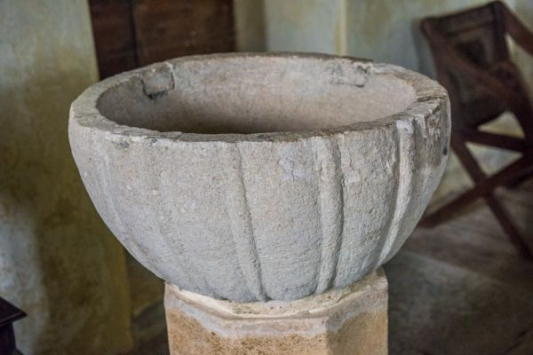 Nether Cerne, All Saints Church photo, The Norman font bowl