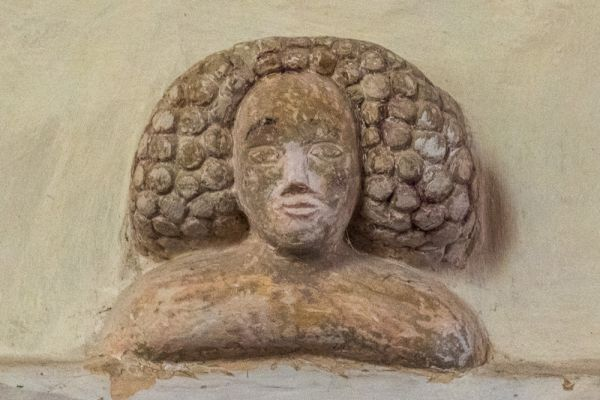 Nether Wallop, St Andrew's Church photo, Carved head of a woman