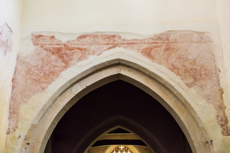 Saxon wall painting over the chancel arch