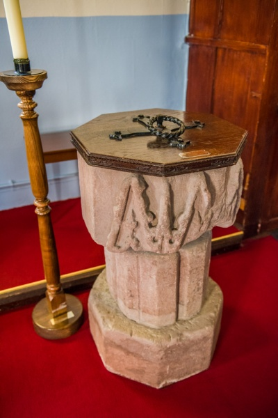 13th century font from Holme Cultram Abbey
