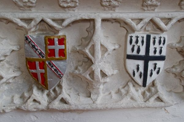 Newton Green, All Saints Church photo, Margaret Boteler memorial, heraldic shields