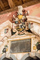 Coat of arms on the memorial to Sir Augustine Palgrave, 1639
