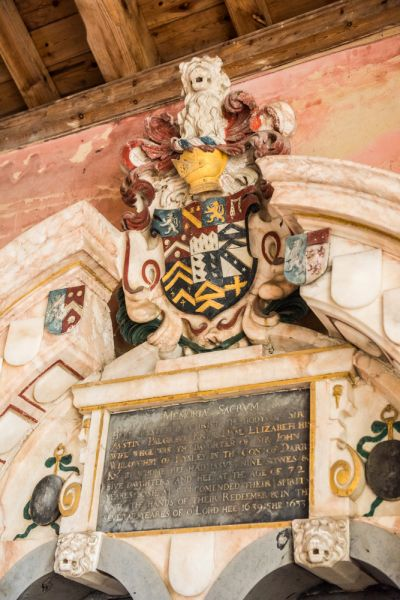 North Barningham, St Peter's Church photo, Coat of arms on the memorial to Sir Augustine Palgrave, 1639