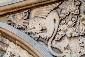 Dragon figure in the spandrel