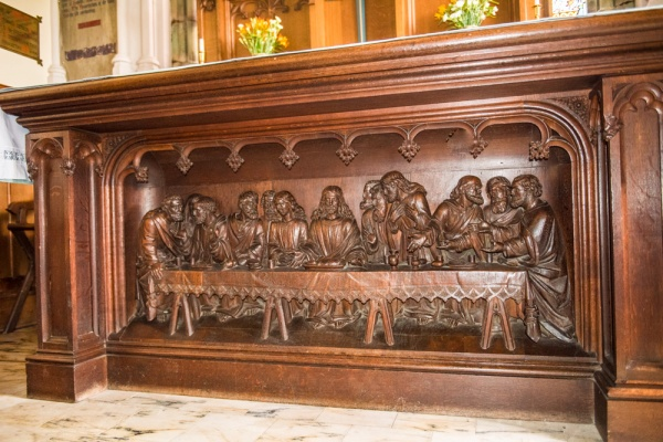 The richly carved 'Last Supper' altar