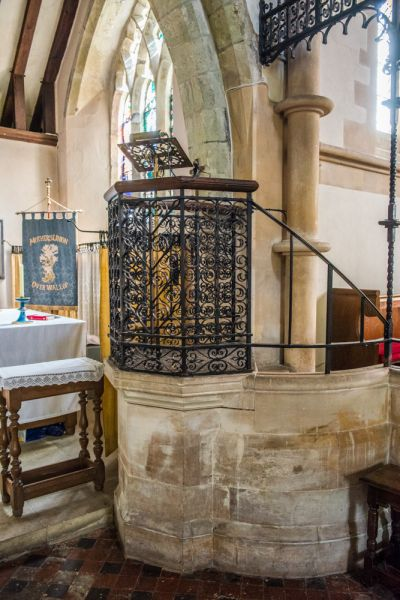 Over Wallop, St Peter's Church photo, The wrought-iron Victorian pulpit