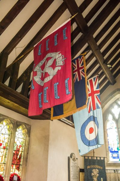 Over Wallop, St Peter's Church photo, The Glider Regiment colours