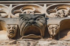 St Edmund's Hall, Oxford, Grotesque carvings on the library