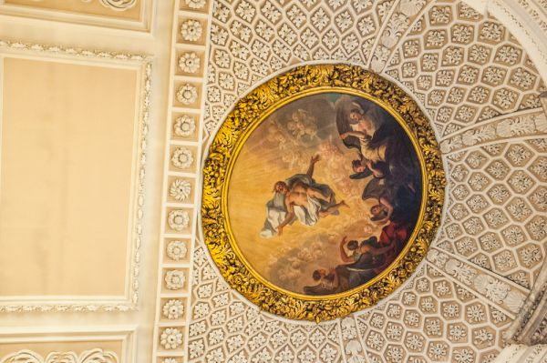 The Queen's College photo, The ornate chapel apse ceiling