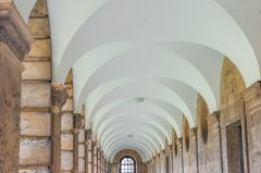 The vaulted cloister walk on the Front Quad
