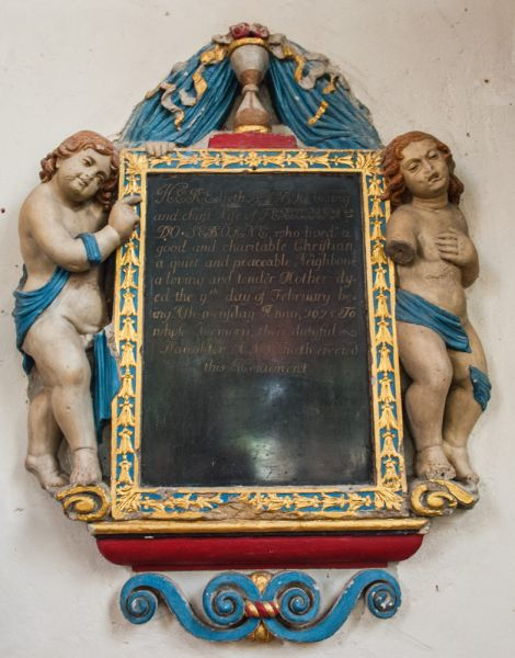 Oxford, St Mary Magdalen Church photo, Memorial to Anne Seborne, 1675