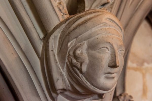 Oxford, St Mary Magdalen Church photo, 19th century carved head of a woman
