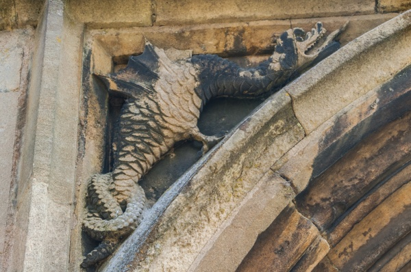 Carving of a wyvern on the south porch