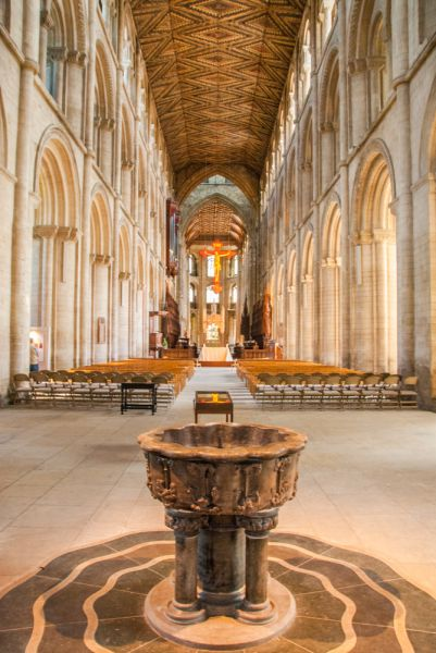 Peterborough Cathedral photo, The 13th century marble font