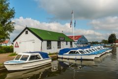 Boats for rent moored at Potter Heigham