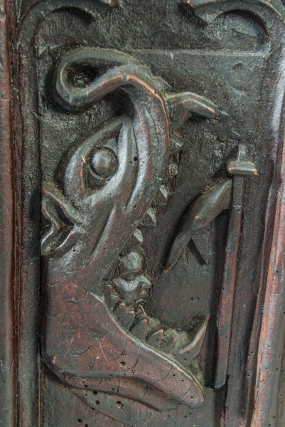 Mouth of Hell bench end carving