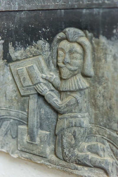 Carved figure on the 17th century Trebarfoot memorial