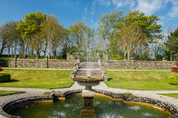 A fountain in the formal gardens