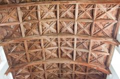The ornate timber roof