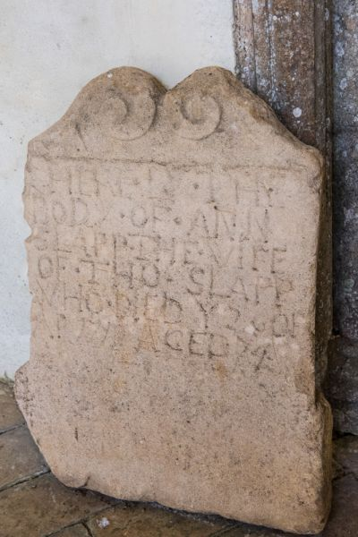 Redgrave, St Mary's Church photo, 18th century gravestone of Anne Slapp