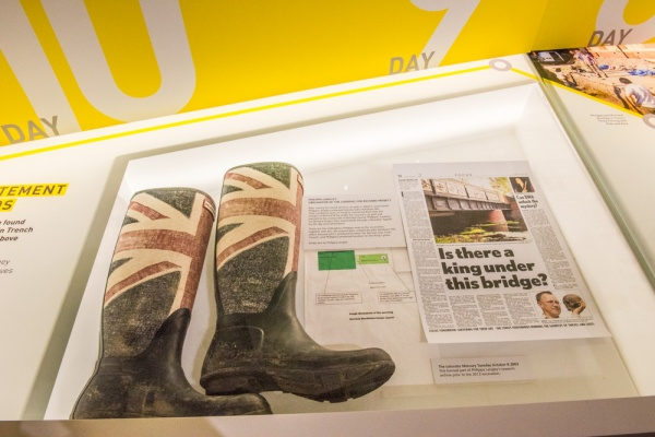 Part of the 'Discovery' display including Philippa Langley's rubber boots