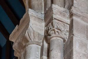 Carved capitals, tower crossing