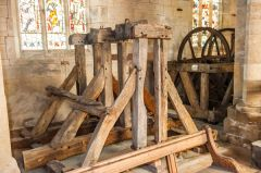 Saundby, St Martin's Church, Old bell frames in the nave