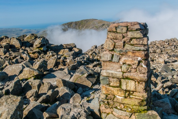 The trig point on Scafell Pike summit