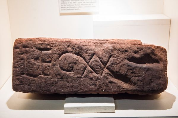 Senhouse Roman Museum photo, 1st century building stone inscribed to the 20th Legion