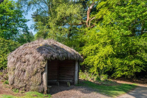 Sheringham Park photo, A thatched woodland summerhouse