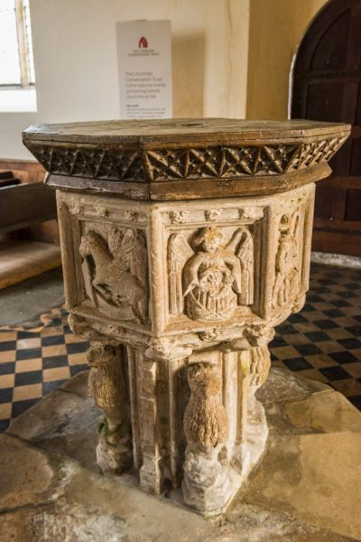 Shimpling, St George's Church photo, The beautifully carved late medieval font