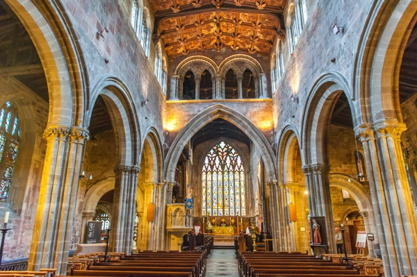 The interior of St Mary's Church, Shrewsbury
