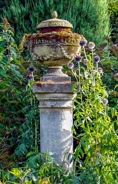 A neo-classical urn in the garden