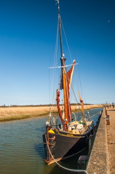 The Blackthorn sailing barge moored at Snape Maltings