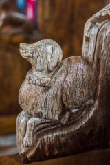 South Creake, St Mary's Church, Carved bench end of a dog