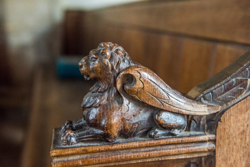 15th century bench end of a winged lion