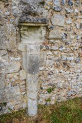 Southwick Priory, A medieval column set against the Priory wall