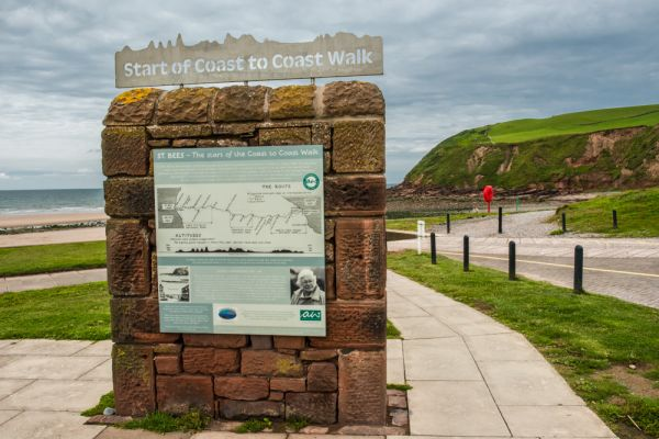 St Bees photo, Wainwright's Coast to Coast Walk marker
