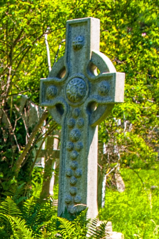 Victorian gravestone in the shape of a Celtic cross