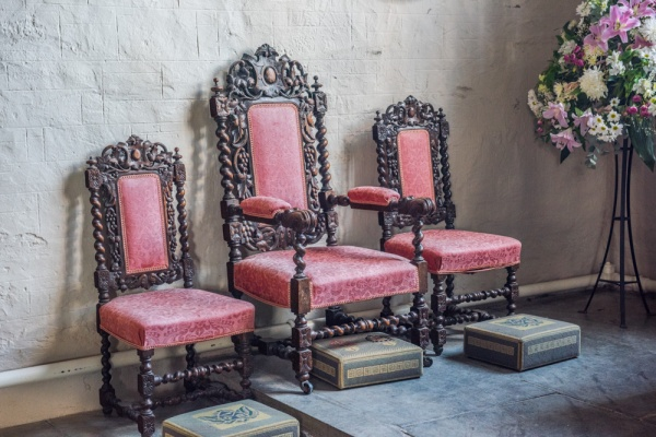 17th century chairs in the sanctuary