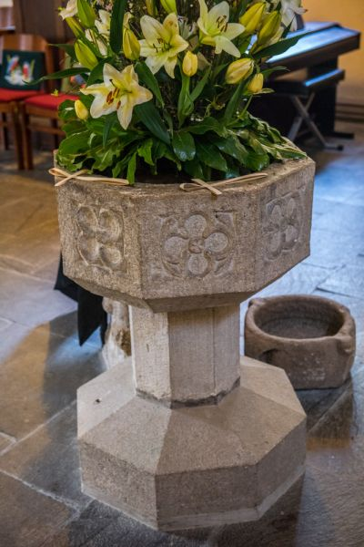 St Just in Roseland Church photo, The 15th century font