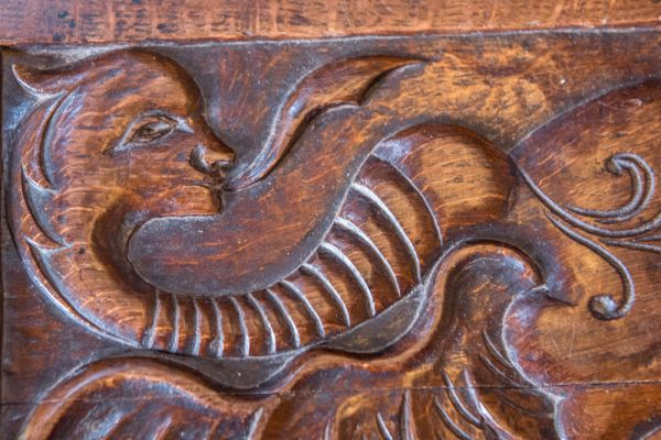 St Just in Roseland Church photo, Another of the medieval bench ends